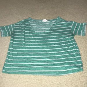 Teal and white striped crop top